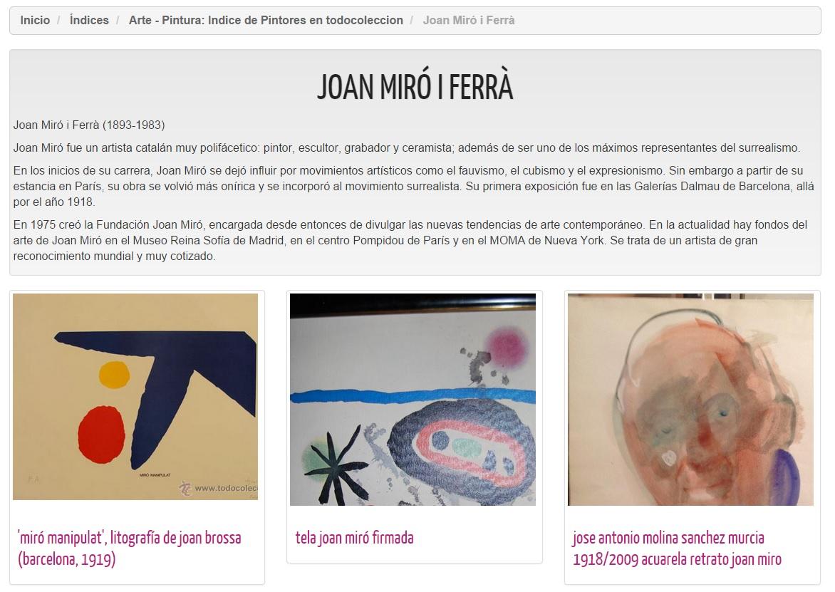 Índice de Pintores - Joan Miró