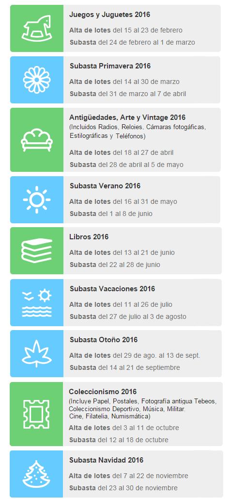 Fechas subastas Temáticas / Extraordinarias 2016